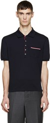 Thom Browne Navy Cotton Piqua Polo