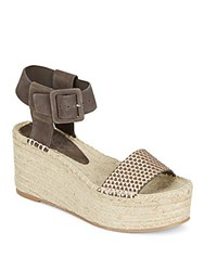 Vince Abby Suede And Metallic Leather Espadrille Platform Wedge Sandals Bronze Umber