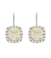Carat Border Set Cushion Drop Earrings Female