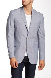 Ike Behar Grey Sharkskin Two Button Peak Lapel Sportcoat Gray