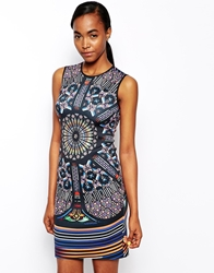 Clover Canyon Neoprene Dress In Stained Glass Print Multi