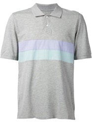 Band Of Outsiders Striped Panel Polo Shirt Grey