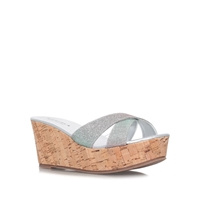 Carvela Kable Mid Wedge Sandals Silver