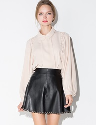 Pixie Market Black Scalloped Leather Eyelet Mini Skirt