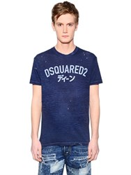 Dsquared Logo Printed Washed Cotton Blend T Shirt