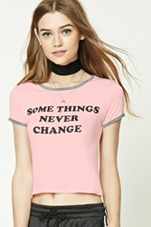 Forever 21 Some Things Graphic Ringer Tee Pink Black