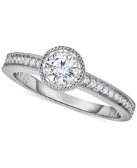 Macy's Diamond Milgrain Engagement Ring 5 8 Ct. T.W. In 14K White Gold