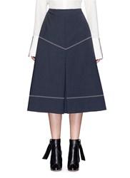Ellery 'Veelee' Zigzag Virgin Wool Blend A Line Skirt Blue