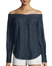 Rag And Bone Rag And Bone Kacy Reversible Chambray Off The Shoulder Tunic Indigo Women's Size M