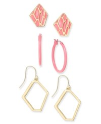 Thalia Sodi Gold Tone And Pink Enamel 3 Pc. Set Earrings Only At Macy's Coral
