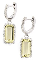 Women's Lafonn 'Aria' Emerald Cut Drop Earrings Silver Lemon Quartz