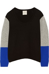 Mason By Michelle Mason Color Block Wool And Cashmere Blend Sweater Black