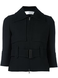 Victoria Beckham Belted Cropped Jacket Black