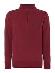 Canterbury Of New Zealand Plain Zip Collar Sweatshirt Maroon