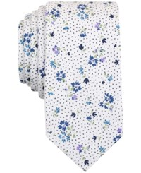 Bar Iii Men's Floral Print Skinny Tie Only At Macy's White