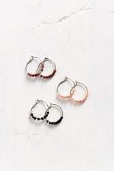 Urban Outfitters Bitty Bead Hoop Earring Set Silver