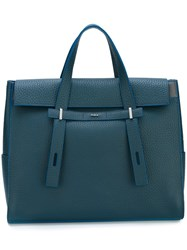 Furla Logo Plaque Tote Blue