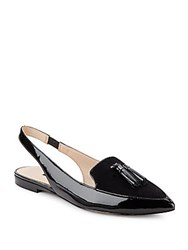 French Connection Gates Patent Leather And Suede Slingback Loafers Black
