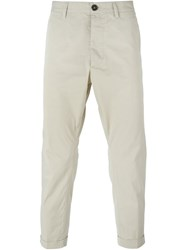 Dsquared2 Cropped Chino Trousers Nude And Neutrals