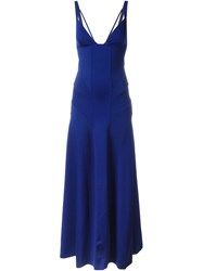 Ralph Lauren Purple Ribbed Panel Evening Dress Blue