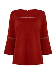 Therapy Libby Bell Sleeve Fagot Detail Top Burnt Orange