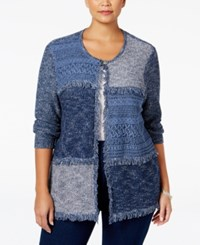 Alfred Dunner Plus Size Sierra Madre Collection Fringe Patchwork Cardigan Navy