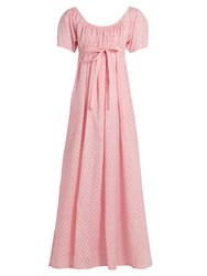 Thierry Colson Plum Fil Coupe Silk Gauze Dress Pink