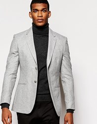 Reiss Flannel Wool Blazer In Slim Fit Grey