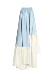 Rachel Comey Mosaic Contrast Panel Midi Dress Light Blue