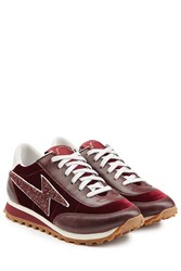 Marc Jacobs Velvet And Leather Sneakers Red