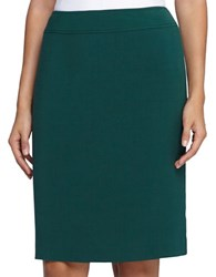 Tahari By Arthur S. Levine Solid Pencil Skirt Emerald