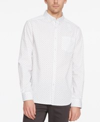 Kenneth Cole New York Men's Geo Print Long Sleeve Shirt White Combo