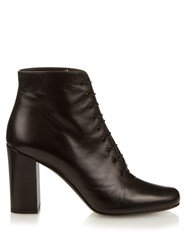 Saint Laurent Babies Lace Up Leather Ankle Boots Black