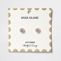 River Island Womens Pink October Birthstone Stud Earrings