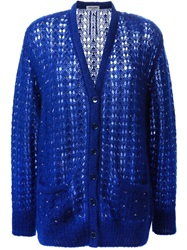 Saint Laurent Loose Knit Cardigan Blue