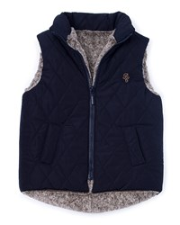 Pili Carrera Faux Fur Quilted Zip Front Vest Navy Size 2 6 Size 3