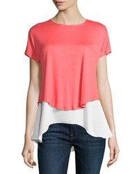 P. Luca Jersey Chiffon Cap Sleeve Tee Coral