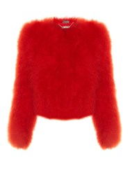 Alexander Mcqueen Round Neck Cropped Feather Jacket Red