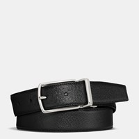 Coach Modern Harness Cut To Size Reversible Textured Leather Belt Black Dark Brown