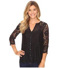 Lucky Brand Lace Mix Top Jet Black Women's Clothing