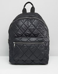 Asos Quilted Nylon Backpack Black