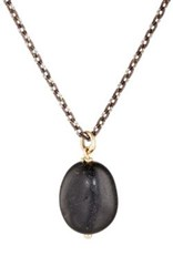 Dean Harris Men's Pebble Pendant Necklace Black