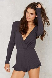 Nasty Gal Calling Ribs Plunging Romper