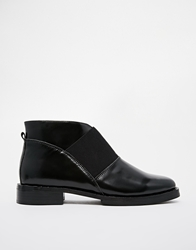 F Troupe Elastic Flat Ankle Boots Black
