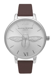 Topshop Olivia Burton Moulded Bee Ob15am60 Brown And Silver Watch