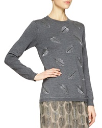 Lela Rose Cashmere Blend Feather Beaded Sweater