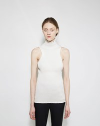 Proenza Schouler Rib Knit Ruffle Turtleneck Off White