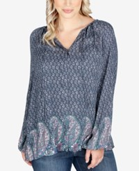 Lucky Brand Trendy Plus Size Peasant Blouse Green Multi