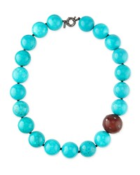 Valhalla Turquoise And Wood Bead Necklace M.C.L. Design By Matthew Campbell