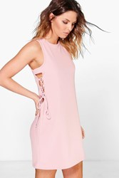 Boohoo Lace Up Textured Shift Dress Peach